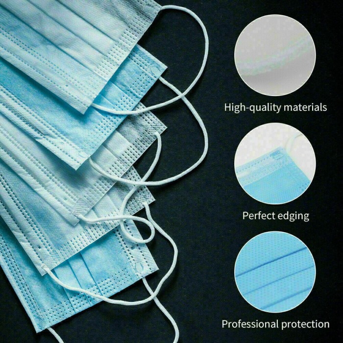 100 PCS Face Mask Medical Surgical Dental Disposable 3-Ply Earloop Mouth Cover