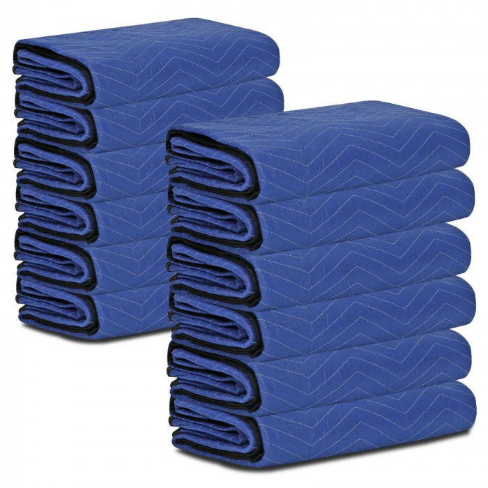 """12 Pack Moving Blankets 80"""" x 72"""" Pro Economy Blue Shipping Furniture Pads"""