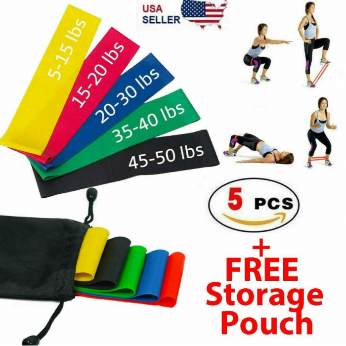 Resistance Bands Workout Loop Set Legs Exercise Cross Fit Fitness Yoga Booty US